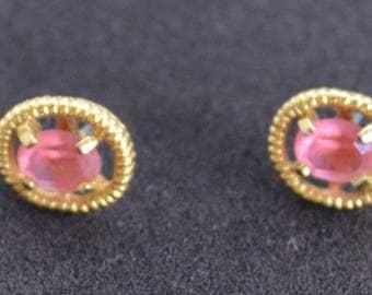 Pink Rhinestone Oval Pierced Earrings, Gold tone, Vintage (P16)