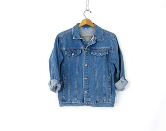 Denim Jean Jacket Rugged Blue Jean Jacket Hipster 1980s Simple Everyday Jacket Size Small Medium