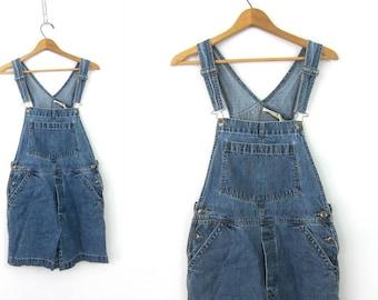 Vintage Blue Jean Bib Shorts Vintage Bib Overalls Shorts Carpenter Pants Women's Indie shorteralls Size Medium