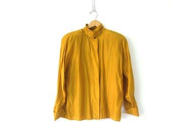 Golden Yellow Silk Blouse 80s Minimal Silk Blouse Long Sleeve Shirt Preppy Secretary Top Casual Silk Blouse Office Wear Vintage Women Medium