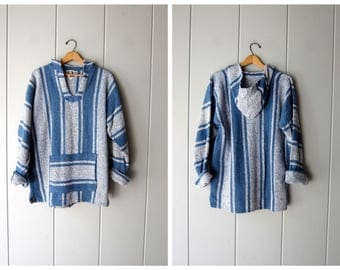 Baja Hoodie 90s Pullover Mexican Jacket Blue White Striped Woven Textured Hoodie Sweatshirt Hippie Boho Vintage Blanket Pocket Sweater Large