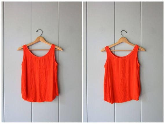 Orange Sheer Tank 90s Crop Top Sleeveless Rayon Blouse 80s FORENZA Hipster Tank Top Vintage Minimal Boho Hip Cropped Top Womens Small