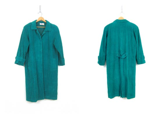 Long Green Corduroy Coat Vintage 1980s woman's coat with Buttons Lined Fall Duster Coat Women's Trench size Medium