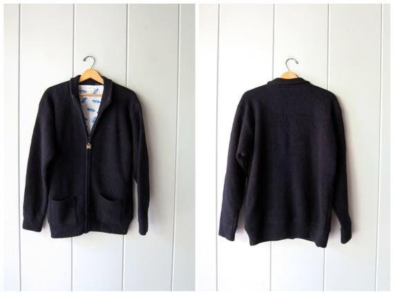 Chunky Wool Sweater Coat Navy Blue Fishermen Sweater Zip Up Sweater Jacket Vintage 80s Minimal Thick Wool Sweater Preppy Modern Mens Medium