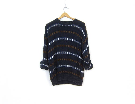 Long Baggy Blue Sweater Pullover Boyfriend Top Slouchy Ramie Cotton Sweater Jumper Preppy Crewneck Long Tunic Sweater Men's Size Large
