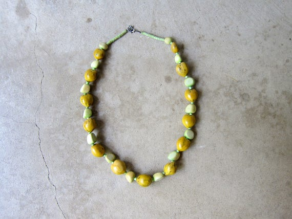 Natural Large Beaded Necklace Long Minimal Yellow & Green Bead Necklace Resort Summer Beaded Strand Necklace Chunky Modern Womens Jewelry