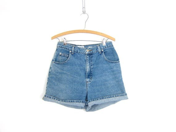 Vintage Jean Shorts Faded Blue Denim Shorts High Waist 90s Washed Out Jean Shorts 1990s High Rise Preppy Shorts Womens 30 inch Waist Medium