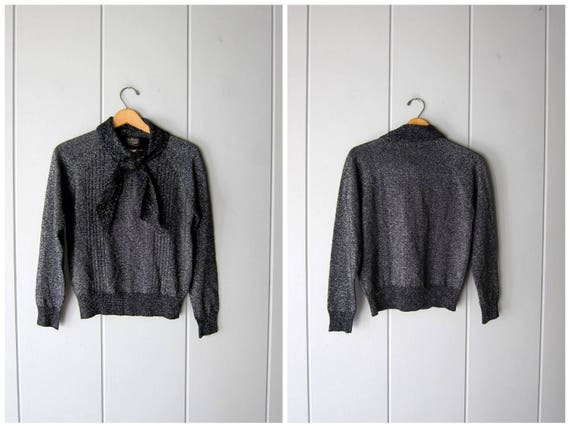 70s Metallic Sweater Fall Tie Up Ascot Sweater Black Silver Preppy Retro Space Age Mod Soft Sweater Disco Sweater Top Womens Medium Large