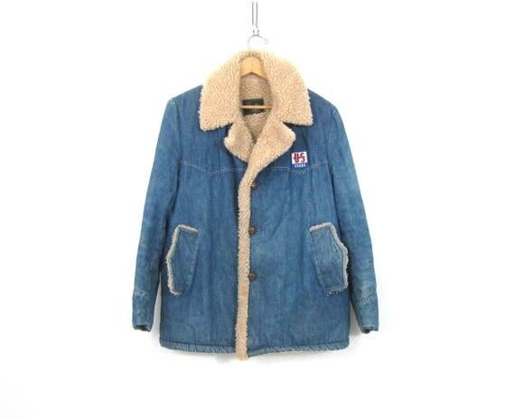 Vintage Jean Jacket Rugged Insulated Sherpa Lined Farmer Coat Large Collar Rancher Jacket Work Wear US Feeds Coat Men's Size Large