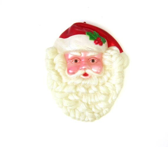 Santa Claus Wall hanging Vintage Christmas Plastic 3D Santa head Picture Wall Hanging Holiday Home Decor