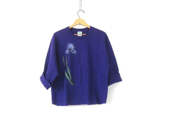 PURPLE IRIS Flower Sweatshirt Baggy Oversized Pullover 1990s Painted Floral Novelty Sweater Hipster Loose Fit Top Women's Size Medium