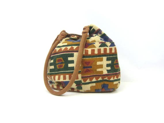 Vintage Large Shoulder Tote Woven Cotton Shoulder Bag Ethnic Boho Pattern Double Strap Bucket Bag Travel Bag MN