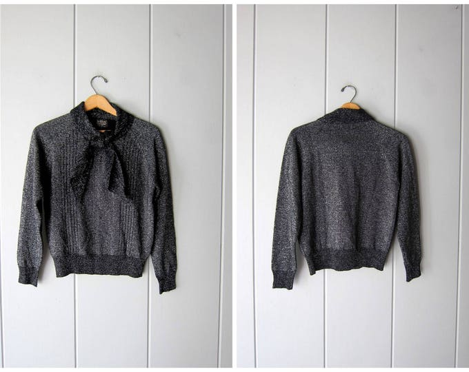 70s Metallic Sweater Fall Tie Up Ascot Sweater Black Silver Preppy Retro Space Age Mod Soft Sweater Disco Sweater Top Womens Medium Large