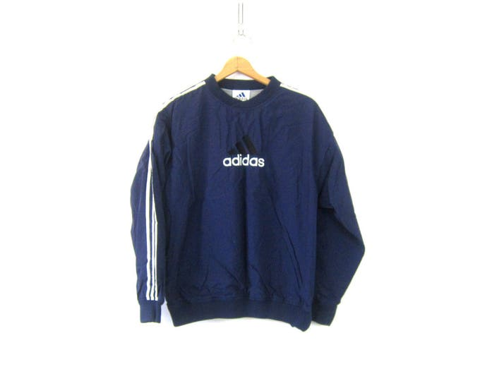 90s ADIDAS Pullover 3 White Stripes Sports Sweatshirt Sporty Blue Adidas Nylon Pullover Athletic Hipster Top UNISEX size Medium Large