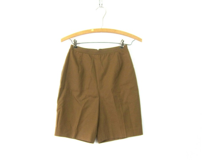 Retro Shorts Vintage High Waist Modern Minimal Khaki Shorts Long Hipster Shorts Slim Fit Mid Century Shorts Women's 24 Inch Waist XS Small