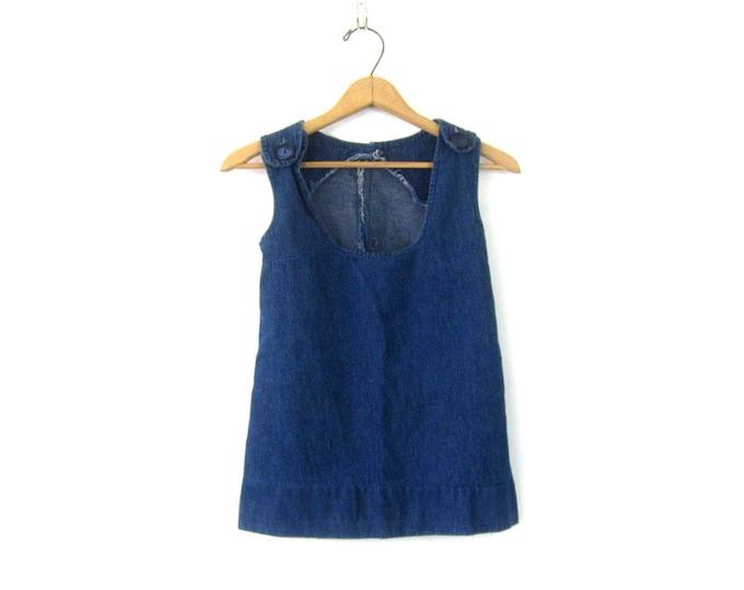 Denim Tank Top Sleeveless Jean Shirt 1960s Mid Century Minimal Shirt Boxy Hipster Top Casual Jean Shirt Vintage Womens size Small