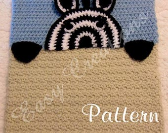 PDF CROCHET PATTERN Peek-a-Zebra, Zebra Pajama Pillow, boy Pj bag, girl Pj pillow, animal Pj pillow, child Pj pet pillow, bed Pj pillow