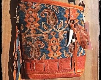 Blue kilim bag