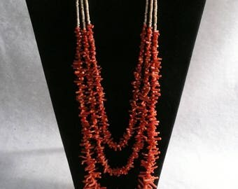 Native American Style Vintage Branch Coral and Shell Heishi Multi Strand Necklace
