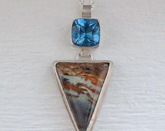 Oregon Owyhee - Owyhee Jasper - Blue Topaz Quartz - Jasper Jewelry - Jasper Necklace - Oregon Jewelry - Blue Stone - Stone Jewelry - Topaz