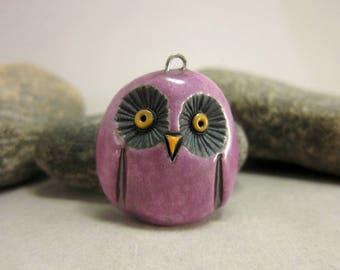 Purple Owl...Raku Pendant