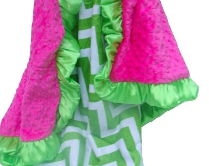 SALE Apple Green Chevron Minky Blanket with Fuchsia, for baby, toddler, teen, or adult Can Be Personalized