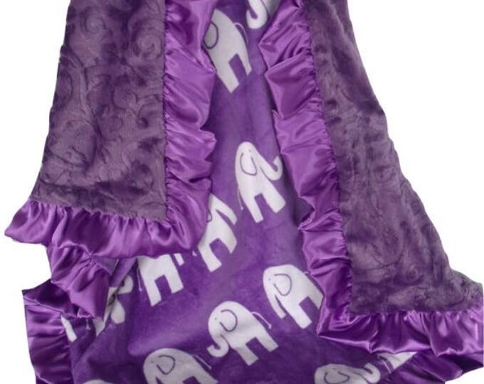 SALE Purple Elephant Minky Baby Blanket, Purple Elephant Jungle Print Baby Blanket, can be - available in three sizesCan Be Personalized