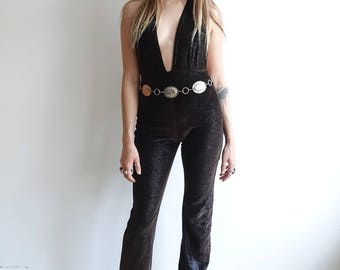 Vintage 90s Snakeskin Velvet Jumpsuit/ Bell Bottom Halter Top Jumpsuit/Small