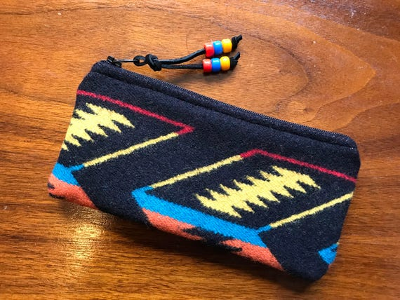 Wool Glasses  Case / Tampon Case / Zippered Pouch Black Arrowpath