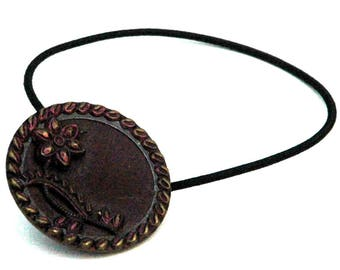 Flower Ponytail Holder, Metal Vintage Button, Dark Copper Tinted Metal Color,  Decorative Hair Elastics, Elastci Hair Tie, Hair Accessory