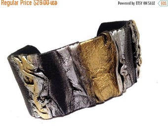 50% OFF SALE Wide statement leather bracelet  Cuff bracelet Leather jewelry Wide fashion wristband leather jewelry
