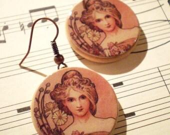 * Earrings * Alphonse Mucha: spring