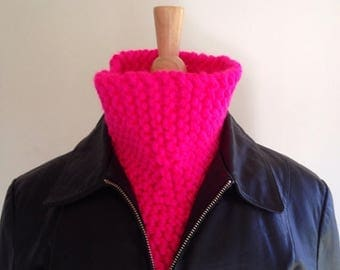 Hot pink scarf - reversible scarf - pink cowl scarf - chunky knit scarf - unique scarf - warm winter scarf - winter fashion accessory