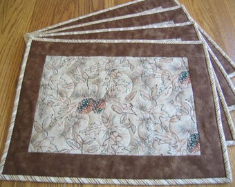 Quilted Placemats in a Pinecones, Leaves and Acorn Pattern - Set of 4