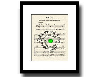 The End Song Lyric Sheet Music Art Print, Spiral Song Lyric Art, Music Art Print, Music Poster Art