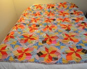 Vintage Handmade Patchwork Scrap Quilt Bright Colors Nice Condition Large Size 1960s