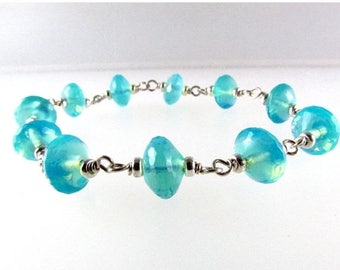 25 OFF Aqua Blue Czech Glass With Sterling Silver And Magnetic Clasp