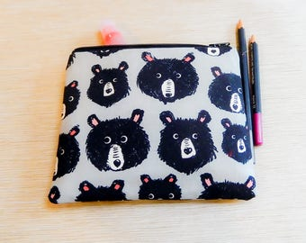 Black Bear Pouch, Black Bear Fabric Pouch, Coin Purse, Change Pouch, Pouch, Bear Lover's Gift, Fabric Zipper Case, Pouch, Cute Pouch