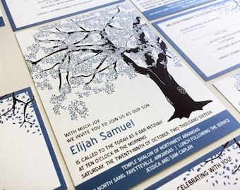 Blue Tree Bar Mitzvah Invitation, Oak Tree Bar Mitzvah Invitation Set, Bat Mitzvah Suite, RSVP Party Card, Pocketfold, Custom, B'nai Mitzvah