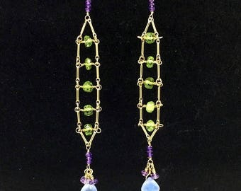 50% SALE Green Gemstone Peridot Ladder Earrings, Chandelier Earrings Wire Wrap Blue Green Earrings 14kt Gold Filled Long Earrings Boho Chic