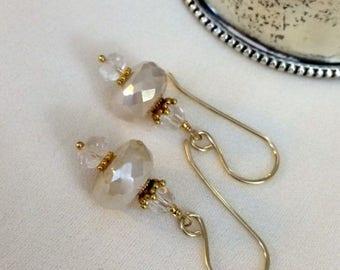 30% SALE Dainty Ivory Cream Earrings, Pearlized Chalcedony Clear Crystal Drop Earrings, Petite Ivory Dangle Earrings, Wedding Earring, Brida