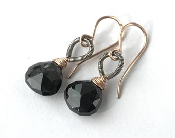 Black Rose Gold Earrings Black Earrings Rose Gold Fill Wire Wrap Gem Mixed Metal Black Drop Earrings  Black Briolette Gemstone Minimalist,