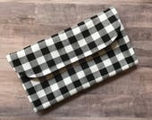 Buffalo Plaid Black White Diaper Clutch with Changing Pad - Graphic - Roll Up Diaper Holder  - Baby Shower Gift - Black - New