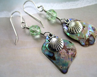 Paua Abalone Shell Earrings Sea Beach Theme with Argentium Silver Earwires, Swarovski Crystal and Silver Color Clam Shell Charms Green Blue