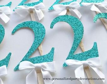 2 Aqua Glitter Cupcake Toppers, Boy 1st birthday party, 2nd birthday, 3rd birthday, glitter party decorations – Quick & Free Shipping