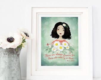 10% Off - Summer SALE There are always flowers... - Henri Matisse Quote - Deluxe Edition Print