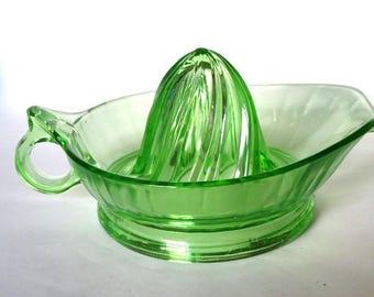 Jeannette Green Vaseline Glass Orange Reamer Tall Cone Loop Handle 1930's Juicer