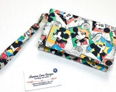 Mickey mouse wallet, affordable fun gift, wristlet, colorful wallet, trifold wallet, cell phone accessory, small purse, credit card keeper