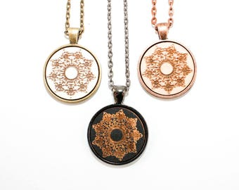 Lace Rosette Pendant - Laser Engraved Wooden Cameo Necklace (Any Color - Custom Made)