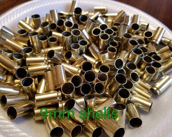 Lot of 50.. 9mm Yellow Brass Shell Casings Spent Bullets for Crafting Jewelry Making Reclaimed Recycled.. Clean Brass